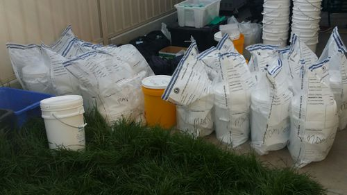 About 120kg of powder believed to be methamphetamine have been seized from an Adelaide home.