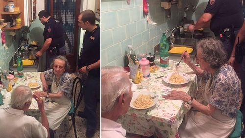 Police treat elderly couple to home-cooked dinner after neighbours report loud crying