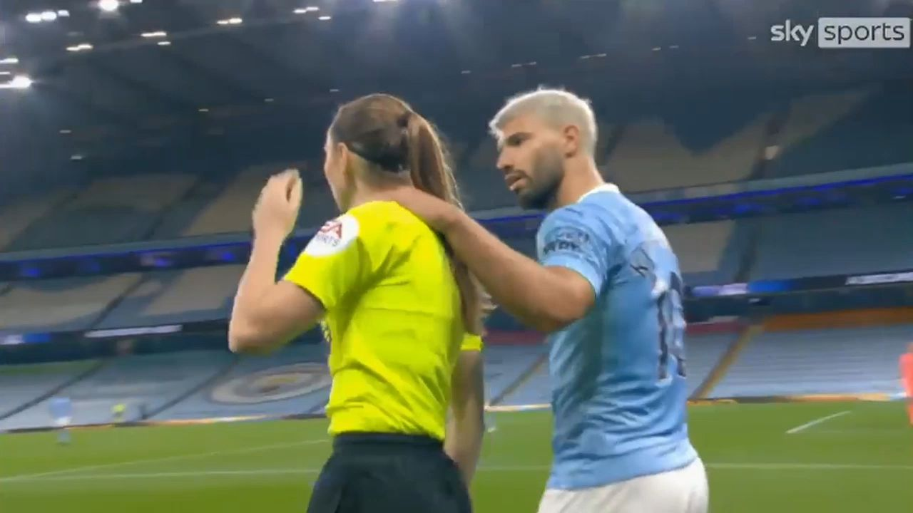 Manchester City star Sergio Aguero escapes sanction for grabbing female ref