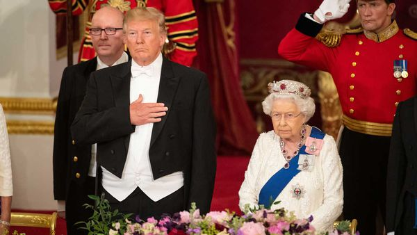 LONDON, ENGLAND - JUNE 03: U.S. President Donald Trump and Queen Elizabeth II attend a State Banquet at Buckingham Palace on June 3, 2019 in London, England. President Trump's three-day state visit will include lunch with the Queen, and a State Banquet at Buckingham Palace, as well as business meetings with the Prime Minister and the Duke of York, before travelling to Portsmouth to mark the 75th anniversary of the D-Day landings.