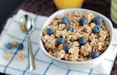 Stock photo of cereal with blueberries
