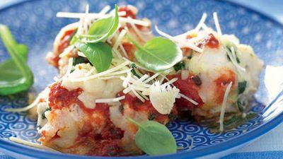 """Recipe:<a href=""""/2016/05/05/15/32/ricotta-and-spinach-fish-gnocchi"""" target=""""_top"""">Ricotta and spinach fish gnocchi</a>"""