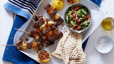 Lamb and haloumi kebabs