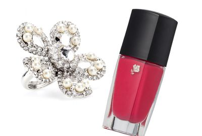 "<p><a href=""http://www.mytheresa.com/en-au/crystal-and-faux-pearl-flower-ring.html"" target=""_blank"">Ring, $315, Miu Miu at Mytheresa.com</a>, and<a href=""http://shop.davidjones.com.au/djs/ProductDisplay?urlRequestType=Base&catalogId=10051&categoryId=26553&productId=6098010&errorViewName=ProductDisplayErrorView&urlLangId=-1&langId=-1&top_category=26553&parent_category_rn=&storeId=10051"" target=""_blank"">Lanc Vil Spring, inRose Bagatelle, $31, Lancome</a>.</p>"