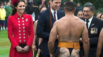 The giggling Duchess didn't where to look when they were welcomed by one heavily tattooed Maori warrior, who was bare-bottomed in his traditional clothing. (All images Getty)