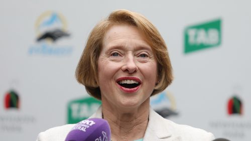 """Horse trainers Gai Waterhouse smiles during a press conference on racing horse """"English"""" at Randwick racecourse. (AAP)"""