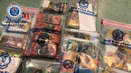 Cash recovered during the police operation.