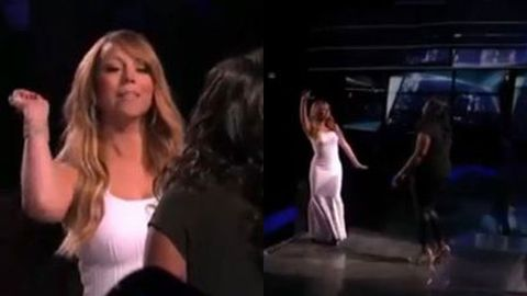 Watch: Mariah Carey glitter-bombs <i>Idol</i> singer on stage
