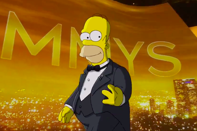 Homer Simpson opened the Emmys before being crushed by a piano.