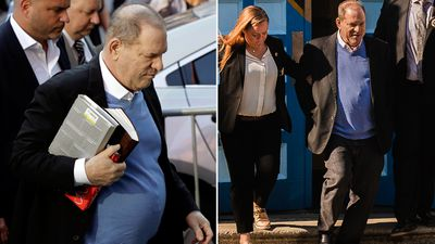 Handcuffed Weinstein 'smirks' as he leaves police station