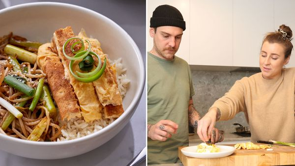 Chefs Matt Stone and Jo Barrett cook an egg stir-fry for Australian Eggs