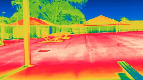 A heatmap image showing a section of a playground at the Parramatta school.