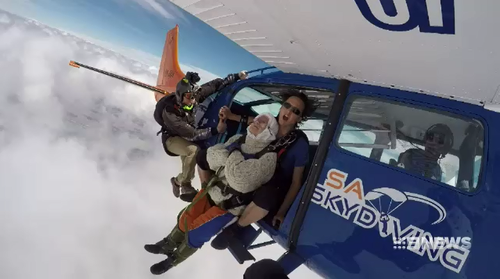 This is the third time Adelaide great grandmother Irene O'Shea has jumped out of a plane in the past three years.