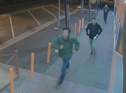 CCTV showed the men running from the scene in Sunbury. (Victoria Police)