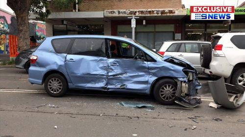 The vehicle careered across the street in St Marys this afternoon, hitting a number of cars on the way.