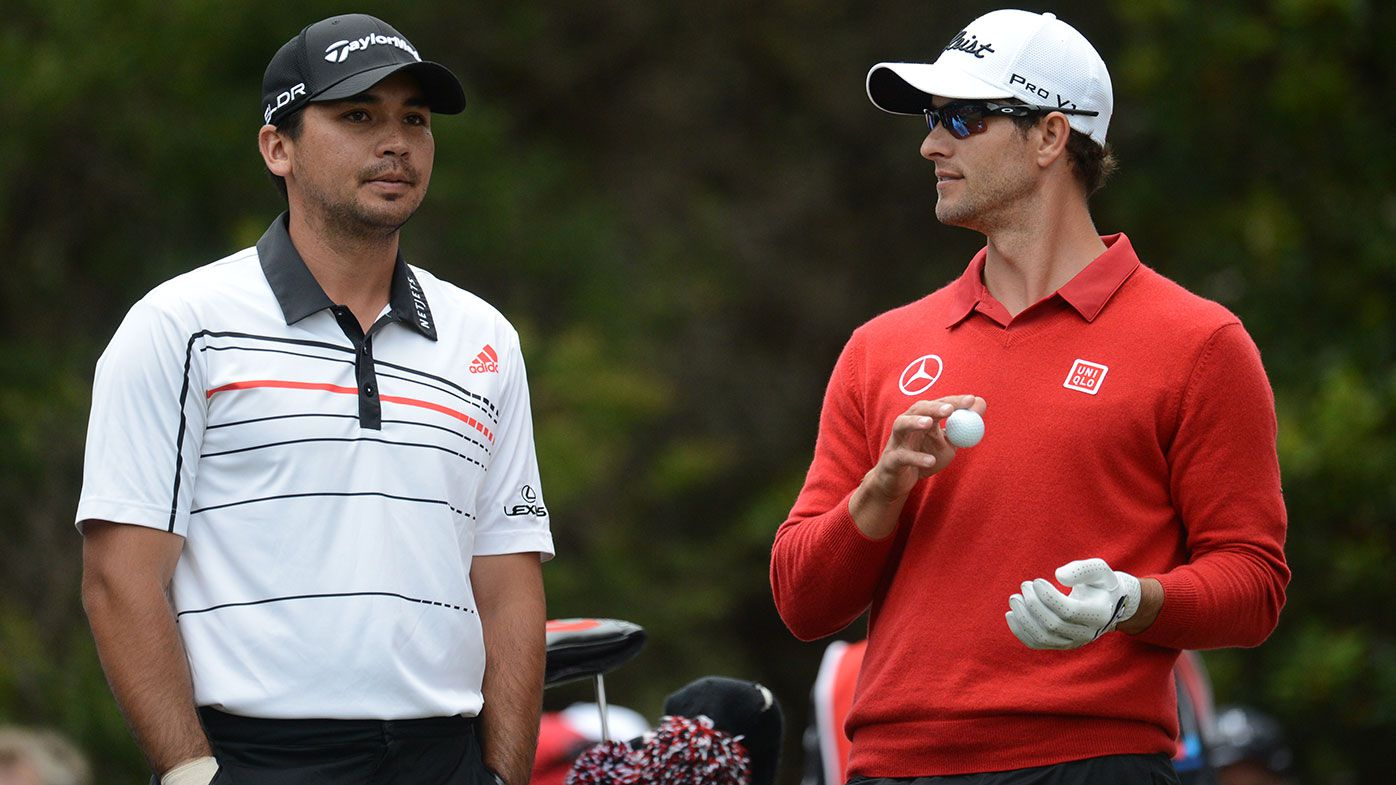 Australian golf stars Jason Day (left) and Adam Scott