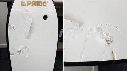 Paul Goff's shark-bitten body board. (WA Police)