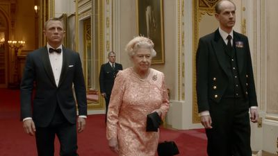 The Queen appears with 'James Bond', 2012