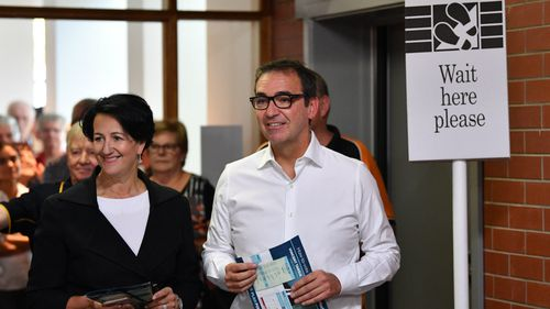 Liberal leader Steven Marshall has cast an early vote in the South Australia election. (AAP)