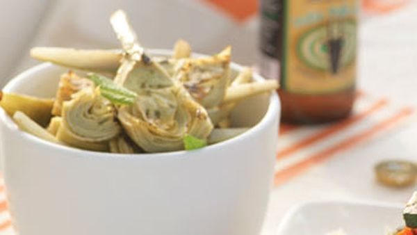 Artichokes with lemon and mint