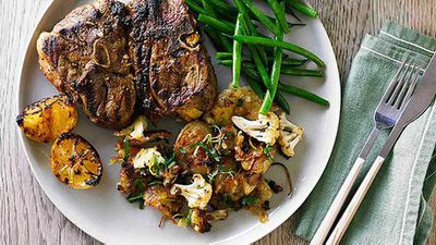 """Recipe:<a href=""""http://kitchen.nine.com.au/2016/05/05/13/28/hayden-quinns-moroccan-lamb-chops-with-roasted-potatoes-and-cauliflower"""" target=""""_top"""">Hayden Quinn's Moroccan lamb chops with roasted potatoes and cauliflower</a>"""