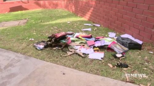 Vital books and equipment were destroyed in the blaze. Picture: 9NEWS
