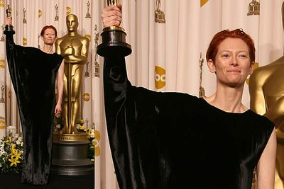 Known for her unusual clothing choices, Tilda wore a black velvet curtain to the 2008 Academy Awards.