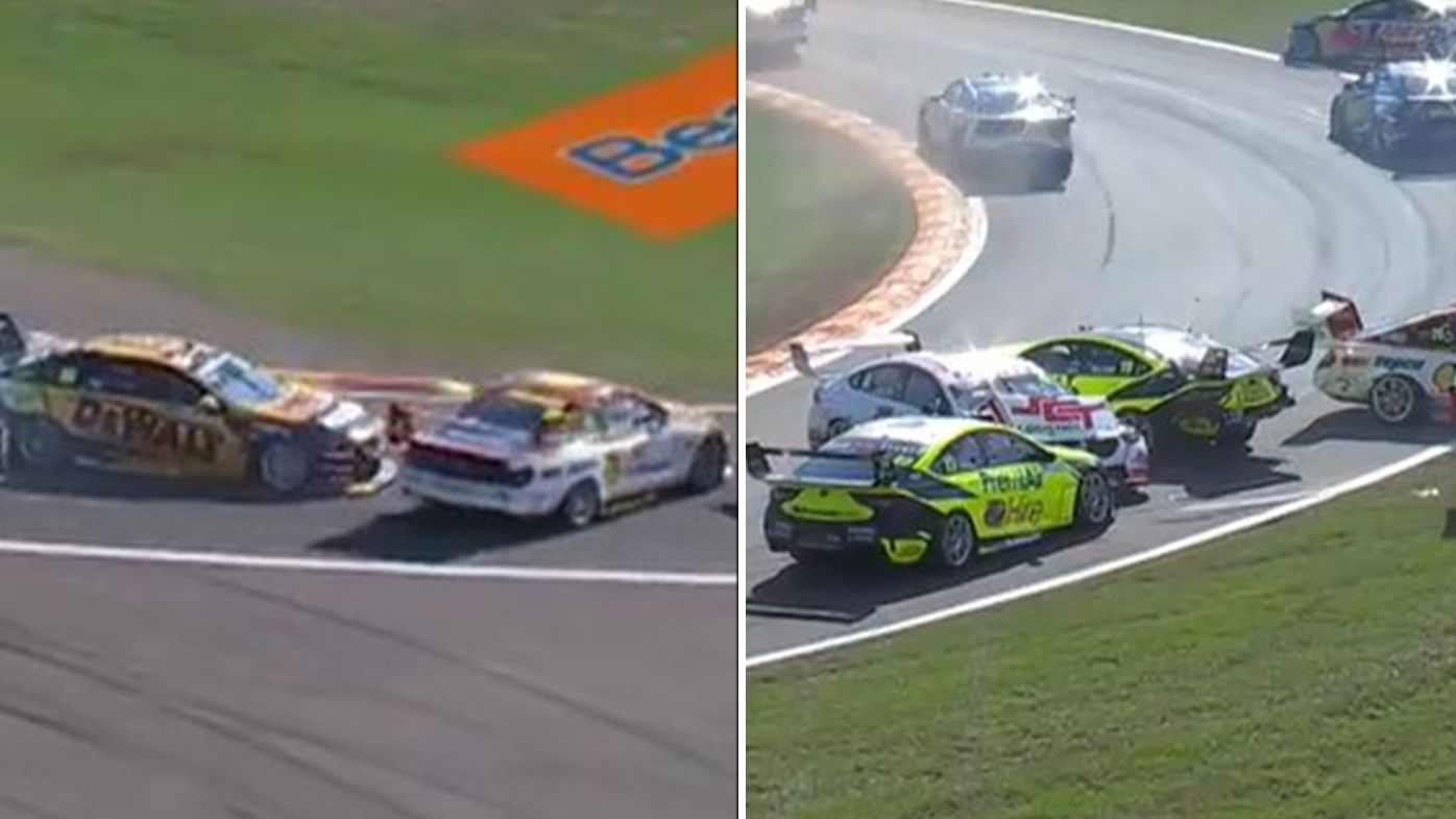 Darwin Triple Crown qualifying erupts into chaos as Supercars lose control at turn one