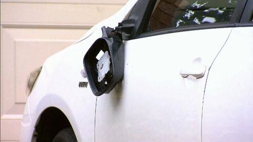 They also smashed the front door and damaged a parked car. (9NEWS)