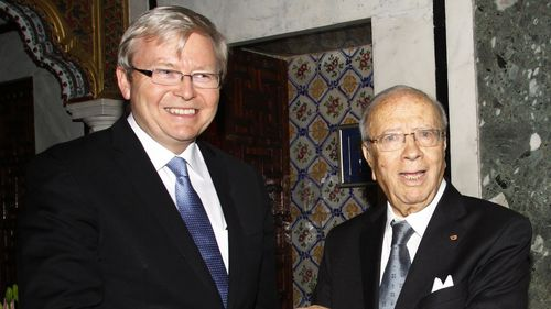 Tunisian Prime Minister Beji Caid Essebsi welcomes then-Foreign Minister Kevin Rudd in 2011.