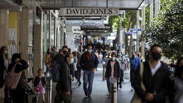 Bourke Street shoppers on Sunday November 1 in Melbourne