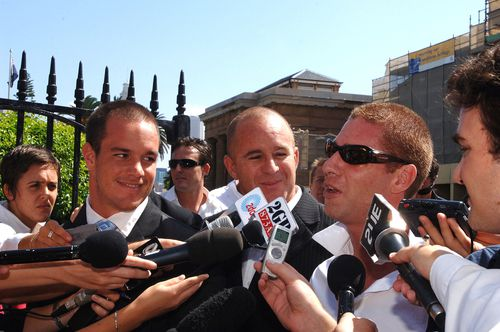 Jai Abberton (right) speaking to the media outside the NSW Supreme Court in 2006. (AAP)