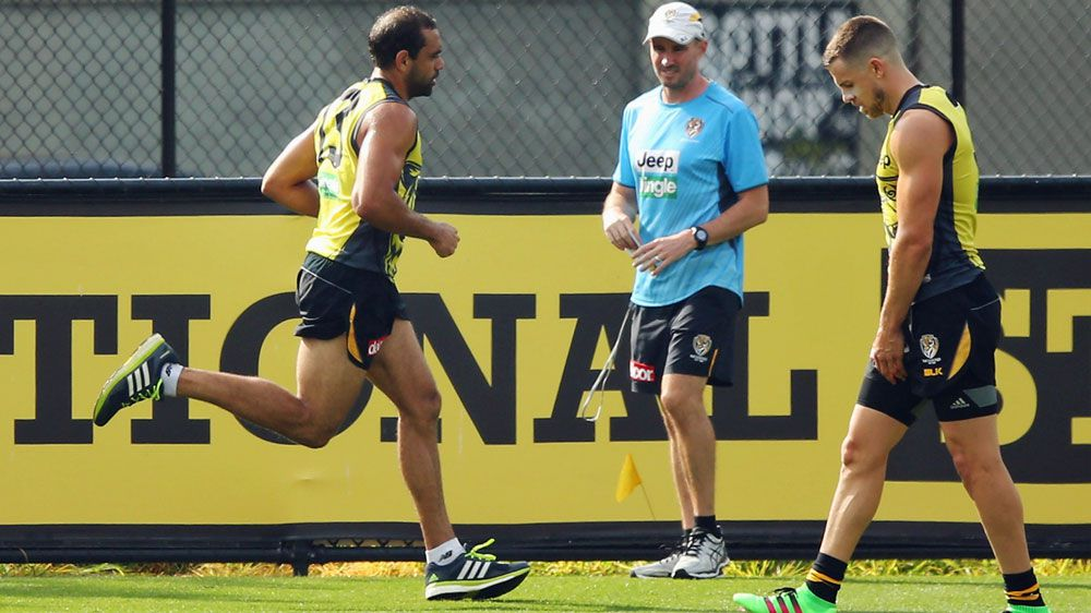 Chris Yarran (L) is recovering from injury. (Getty)