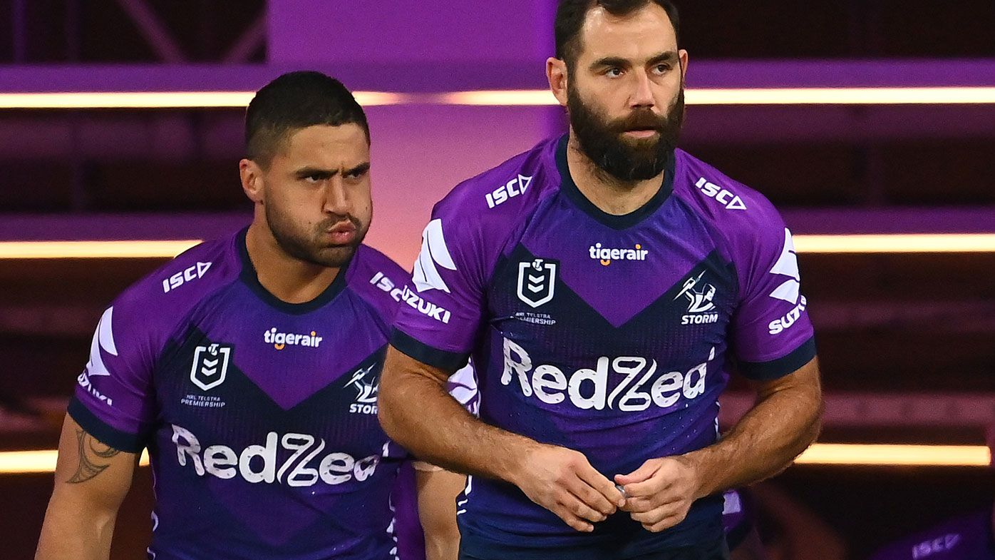 Cameron Smith of the Melbourne Storm takes to the field