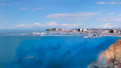 A computer simulation of an innovative nuclear engine hitting a coastline. (AAP)