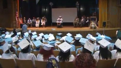 Tayloni received a standing ovation as she celebrated her achievement. (Pix11 News)
