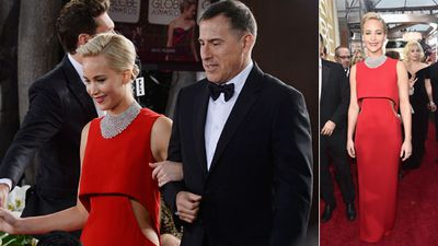Jennifer Lawrence and 'Joy' director David O. Russell. (Getty)