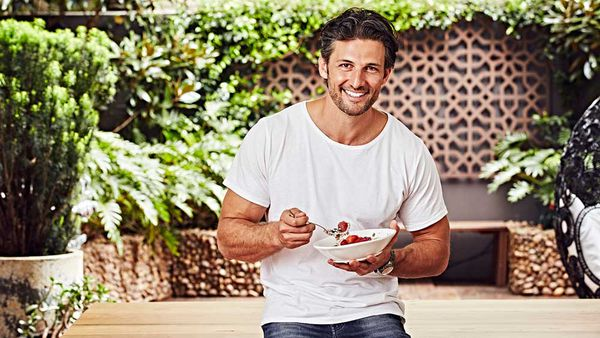 Tim Robards eating a bowl of 'zoats'. Image: Supplied
