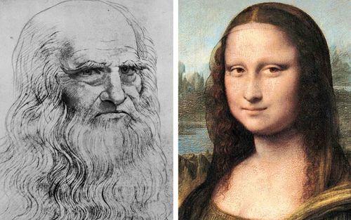 An undated self portrait of Leonardo Da Vinci and the Mona Lisa.