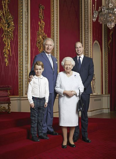 Queen Elizabeth, Prince Charles, Prince William and Prince George pose for a photo to mark the start of the new decade in the Throne Room of Buckingham Palace, London.