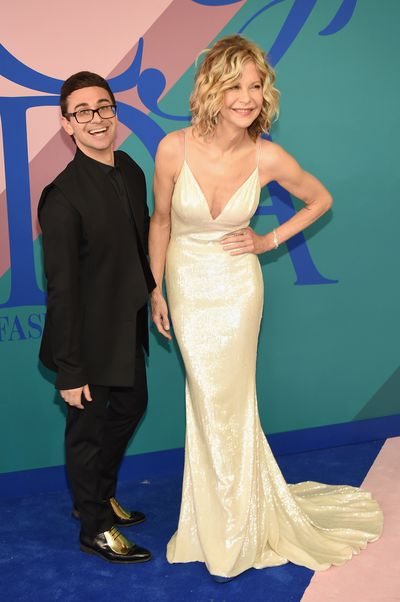 Christian Siriano and Meg Ryan in Christian Siriano at the 2017 CFDA Awards.