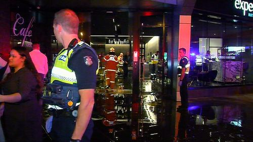 Emergency services were called to a Melbourne CBD apartment block overnight following reports of significant flooding. Picture: 9NEWS.