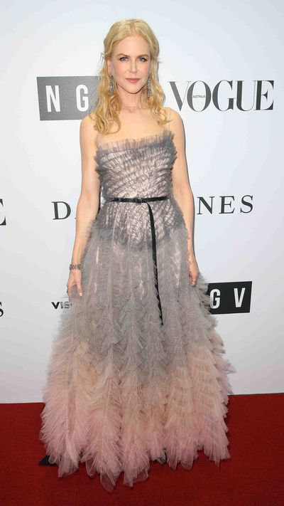 """<p>Nicole Kidman stole the show on the red carpet for the opening of the Dior exhibition at Melbourne's National Gallery of Victoria from Hollywood actress Elizabeth Olsen, visiting British model Winnie Harlow and singer Tina Arena.</p> <p>In a strapless, fairytale dress, Kidman looked relaxed as she chatted with gallery director Tony Ellwood and designer Collette Dinnigan.</p> <p>Now word as to whether last night's gown will join Kidman's collection of Dior, including the dress she wore to the 1997 Oscars, which is part of the exhibition.</p> <p>""""I treat them as works of art because that is what they are,"""" Kidman told the <a href=""""http://www.heraldsun.com.au/entertainment/confidential/the-house-of-dior-seventy-years-of-haute-couture-inaugural-national-gallery-of-victoria-gala/news-story/9faba6d51f44446f215288530af4550d"""" target=""""_blank"""" draggable=""""false"""">Herald Sun</a>. """"At some point I will donate them to an institution or a costume institute.""""</p> <p>""""That is why something like this is fantastic for Melbourne to have because these things, they have a life, they represent a part of history. My mum would love to come and see this.""""</p> <p>See the other red carpet highlights here.</p>"""