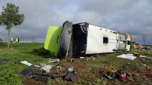 The bus flipped onto its side near Amiens, in the northern Somme region of France.