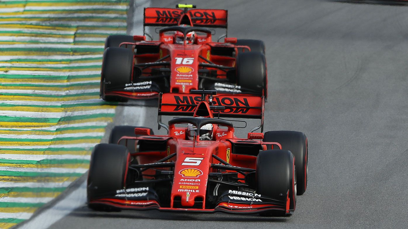 Sebastian Vettel leads Charles Leclerc during the Brazilian Grand Prix.