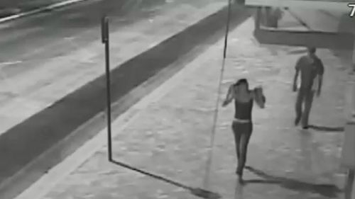 CCTV shows Alexis Jeffreys and Robert Strebeck. Picture: Supplied