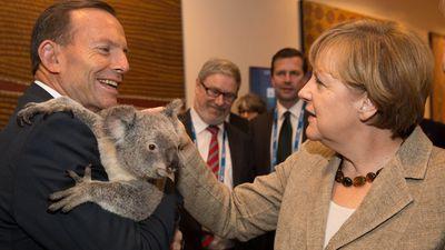 Mr Abbott with German Chancellor Angela Merkel. (Getty Images)