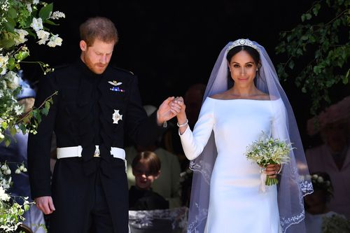 Prince Harry and Meghan on their wedding day. Picture: AP