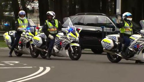 Police motorcades and motorbike officers were seen flanking the former President as he travelled throughout the CBD yesterday. Picture: 9NEWS.