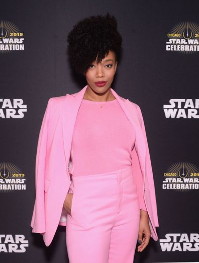 """Naomi Ackie (Jannah) attends """"The Rise of Skywalker"""" panel at the Star Wars Celebration at McCormick Place Convention Center on April 12, 2019 in Chicago, Illinois."""